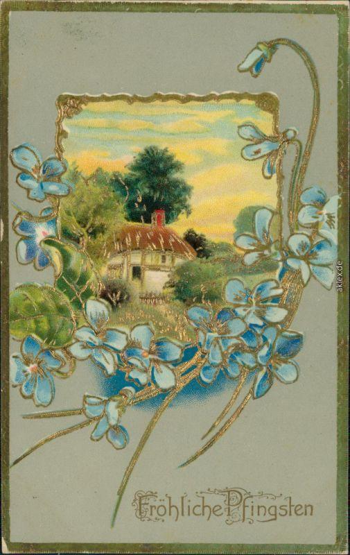 Ansichtskarte  Glückwunsch: Pfingsten 1912 Goldrand