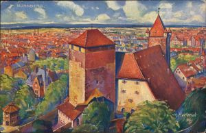 Nürnberg Künstlerkarte v. M. Herterich: Blick auf die Stadt, Kaiserstallung 1916