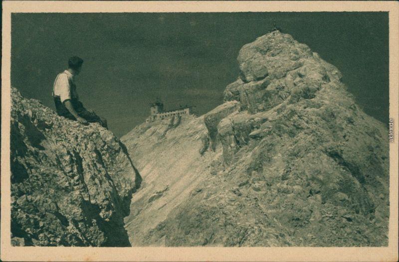 Ansichtskarte Grainau Münchner Haus (Zugspitze) - Ost- und Westgipfel 1929