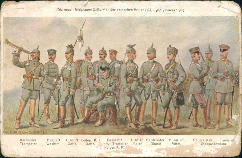 Uniformen feldgrauen Uniformen der deutschen Armee (XII. u. XIX. A.Korps) 1905