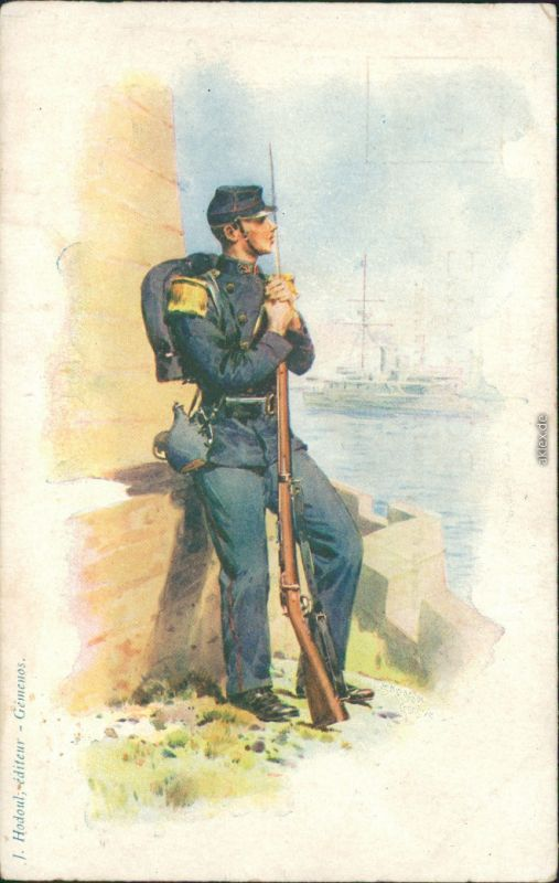 Ansichtskarte  Soldaten-Uniformen - Blaurock - Union 1907