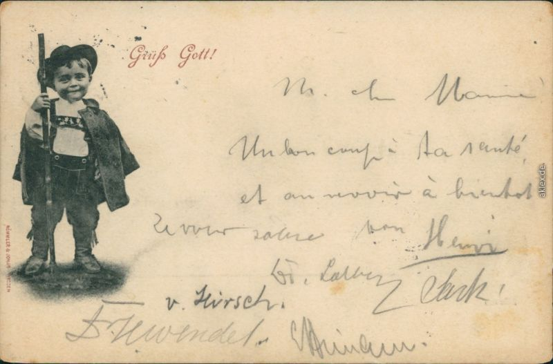 Ansichtskarte  Grüß Gott!, Junge als Wanderer 1897