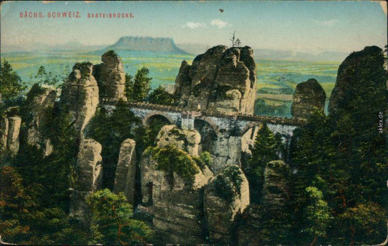 Ansichtskarte Lohmen (Sachsen) Basteibrücke 1910