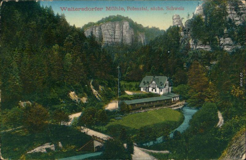 Ansichtskarte Polenz-Neustadt (Sachsen) Waltersdorfer Mühle 1914