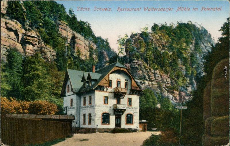 Ansichtskarte Polenz-Neustadt (Sachsen) Waltersdorfer Mühle 1934