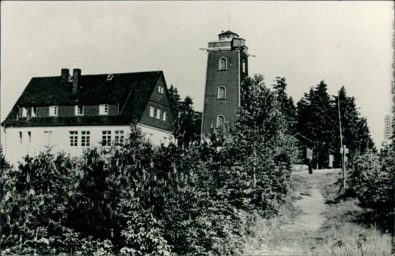Ansichtskarte Stützengrün HO-Berghotel Kuhberg mit Turm 1958