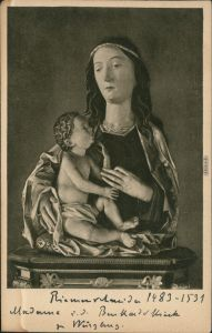 Ansichtskarte Würzburg Burkarduskirche - Hl. Jungfrau mit Jesuskind 1928