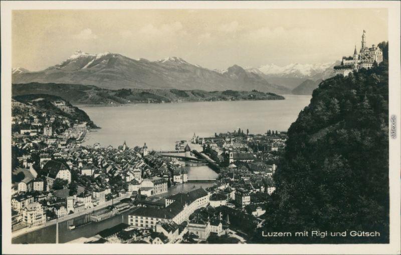 Ansichtskarte Luzern Lucerna Blick auf den Ort 1930