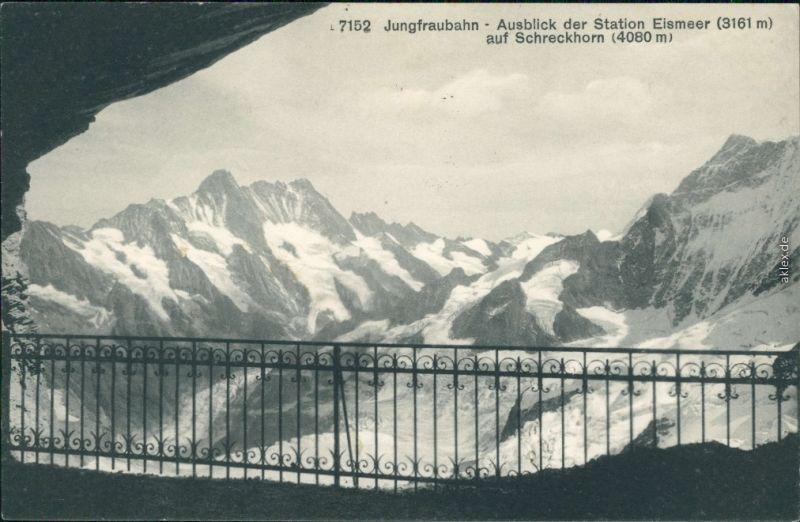 Ansichtskarte Lauterbrunnen Jungfraubahn - Ausblick der Station Eismeer 1913