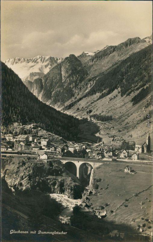 Ansichtskarte Göschenen Blick auf den Ort mit Dammagletscher 1932