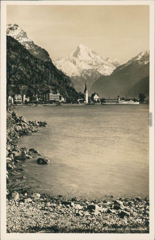 Ansichtskarte Flüelen See, Blick auf den Ort, Bergpanorama 1932