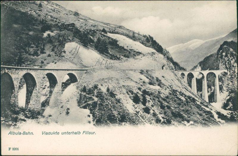 Ansichtskarte Filisur Filisour Panorama-Ansicht mit Albula-Bahn - Viadukt 1933