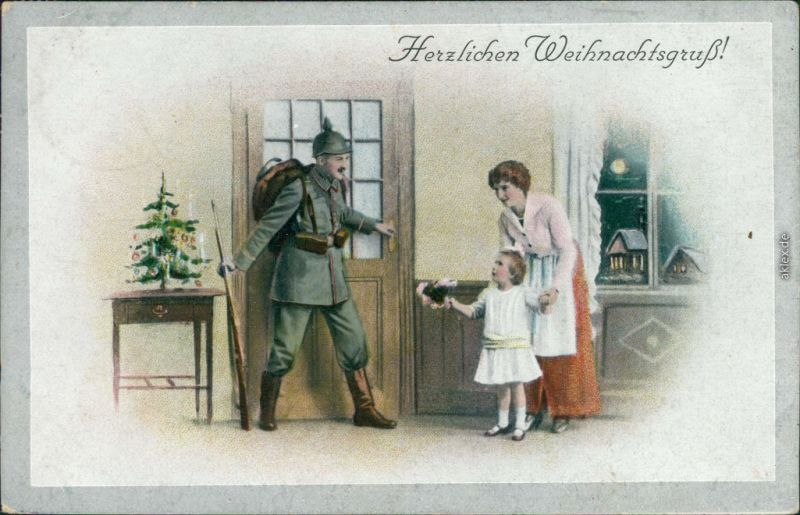 ak gl ckwunsch weihnachten soldat in uniform frau mit. Black Bedroom Furniture Sets. Home Design Ideas