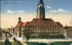 Ansichtskarte Innere Altstadt-Dresden Neues Rathaus 1917