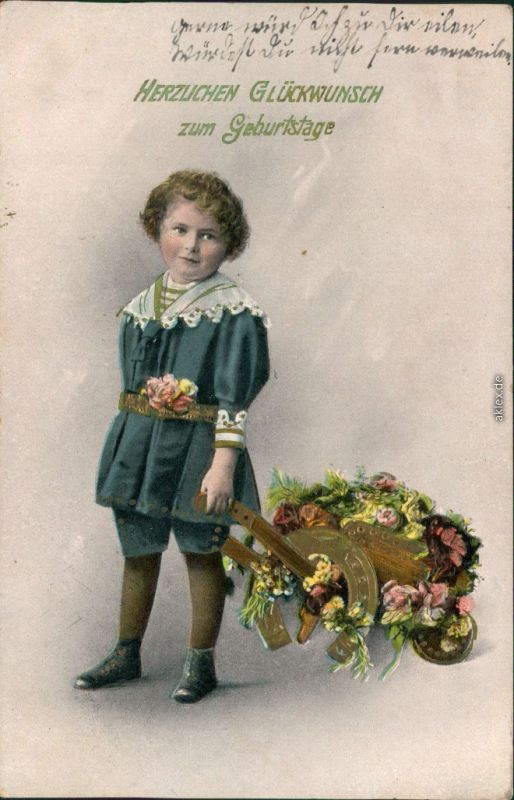 Glückwunsch Geburtstag - Kind mit Blumenwagen, Hufeisen 1912 Goldrand