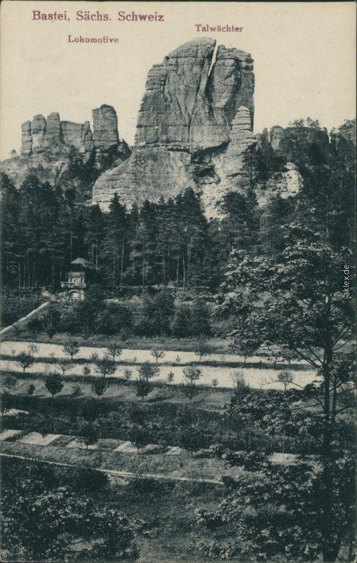 Ansichtskarte Rathen Bastei - Lokomotive, Talwächter 1922