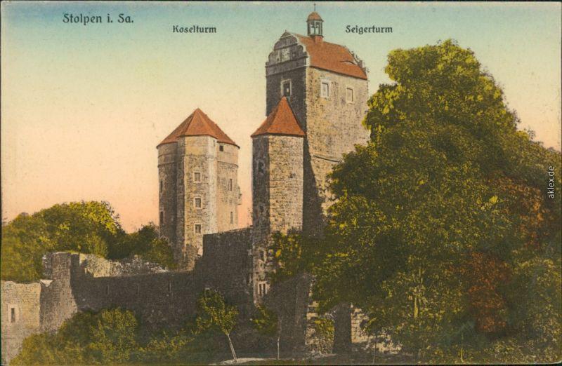 Ansichtskarte Stolpen Burg Stolpen - Koselturm, Seigerturm 1914