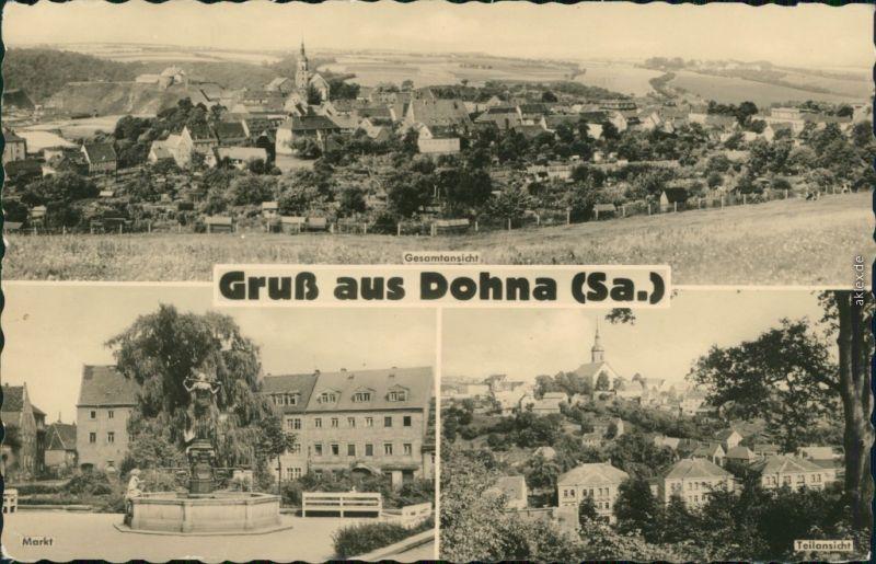 Ansichtskarte Dohna Panorama, Markt, Teilansicht 1960