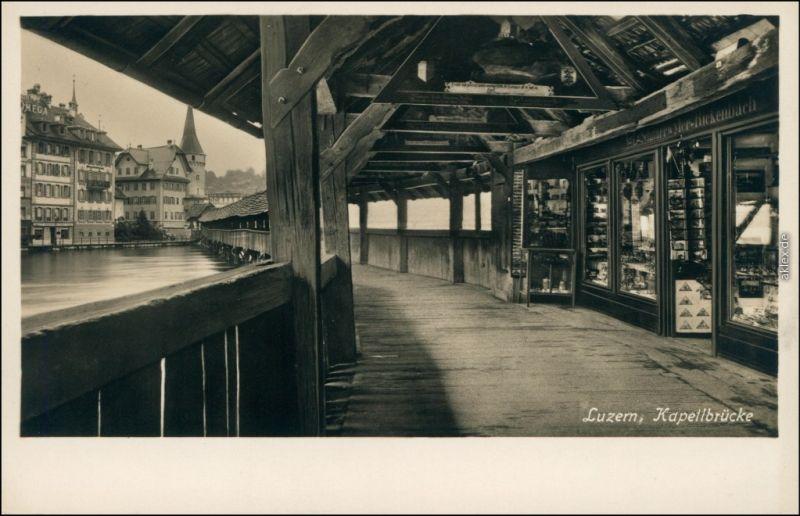 Ansichtskarte Luzern Lucerna Kapellbrücke / Wasserturm - Geschäft 1929