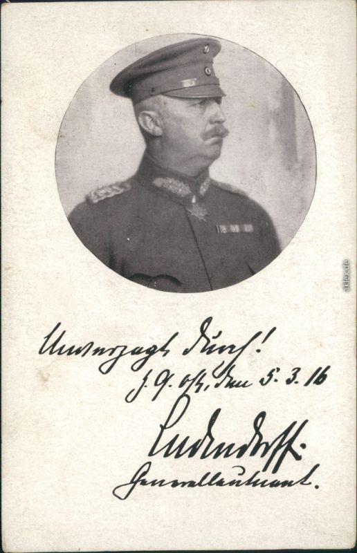 Ansichtskarte  Soldaten-Porträts 1. Weltkrieg - Ludendorf 1916