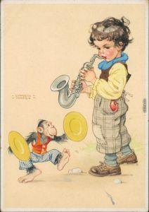 Scherzkarten - Spielender Junge mit spielenden Affen Lungers Hausen 1929