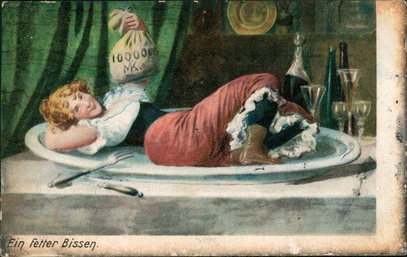 Ansichtskarte  Humor - Frau auf Tablett mit Geld