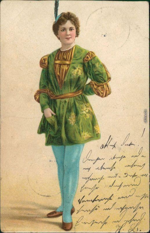 Ansichtskarte  Trachten/Typen - Frau in Grün 1904