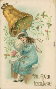 Glückwunsch - Neujahr/Sylvester - Die großen Glöckchen 1915 Goldrand