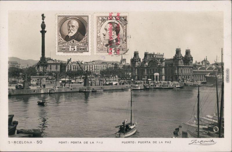 Ansichtskarte Barcelona Hafen mit kleinen Booten 1933