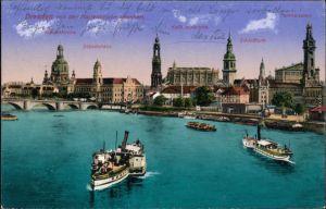 Ansichtskarte Innere Altstadt-Dresden Blick auf die Altstadt, Elbdampfer 1916