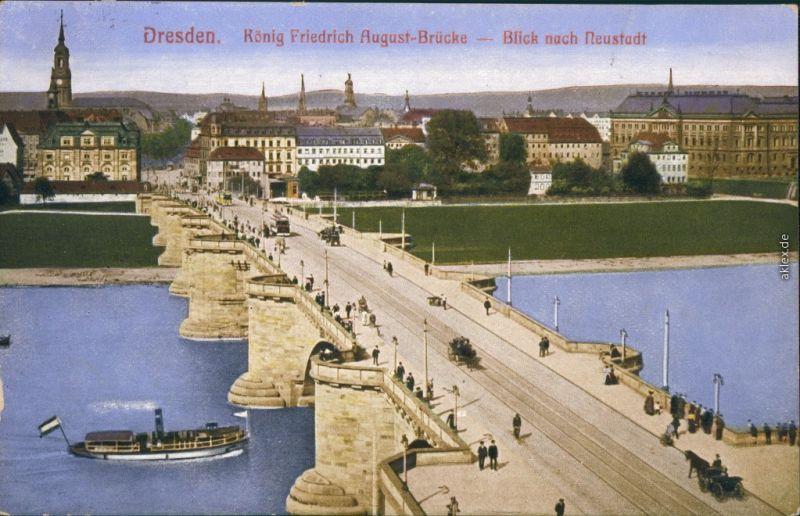 Innere Altstadt-Dresden Augustusbrücke mit Blick nach Dresden-Neustadt 1914