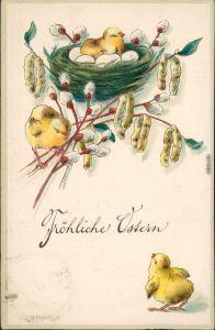 Grußkarten: Ostern / Oster-Karten - Küken, Nest, Weidenkätzchen 1913 Prägekarte