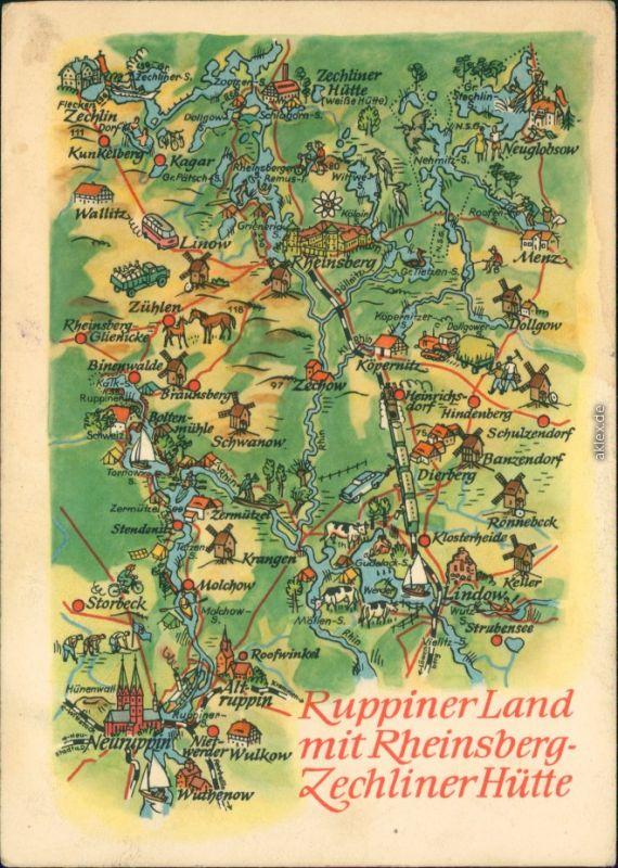 Zechlinerhütte-Rheinsberg Landkarte: Ruppiner Land mit   1966