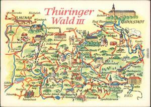 Ansichtskarte  Landkarte: Thüringer-Wald III 1974