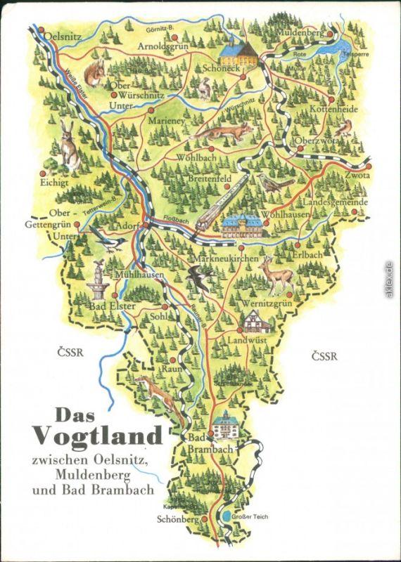 Ansichtskarte Muldenberg Grunbach Oelsnitz Landkarte Das Vogtland