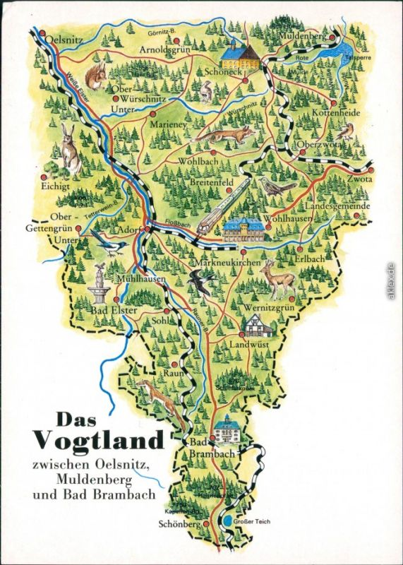 Ansichtskarte Muldenberg Grunbach Vogtland Landkarte Das
