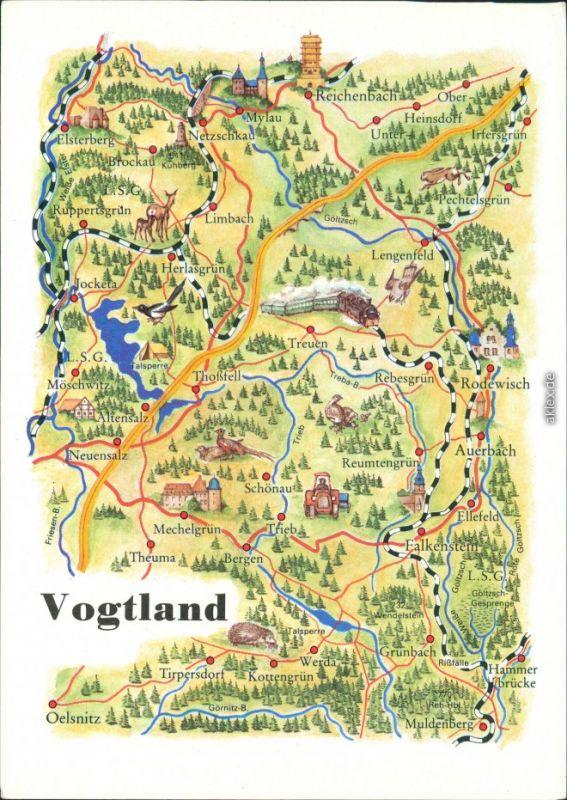 Ansichtskarte Landkarte Vogtland Iii 1989 Nr 89789 Oldthing
