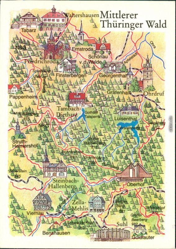 Ansichtskarte  Landkarte: Mittlerer Thüringer Wald 1985