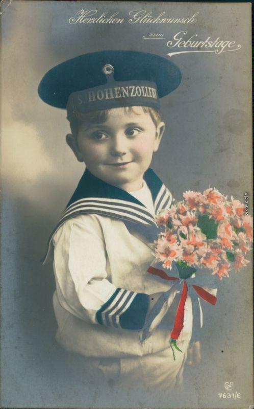 Geburtstag - Kind als Matrose - S . Hohenzollern Patriotika  1917