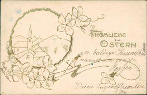 Ostern / Oster-Karten mit Blumen und Zeichnung vom Ort 1905 Prägekarte