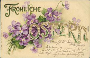 Oster-Karten mit Blumen und Großen Buchstaben 1905 Prägekarte
