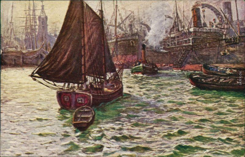 Ansichtskarte Hamburg Künstlerkarte: im Hafen 1924