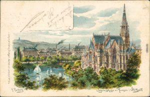 Litho Ansichtskarte Stuttgart Johanneskirche/Johanniskirche mit Feuersee 1904