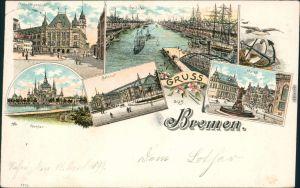 Litho Ak Bremen Gerichtsgebäude, Freihafen, Bahnhof, Markt, Parkhaus 1899