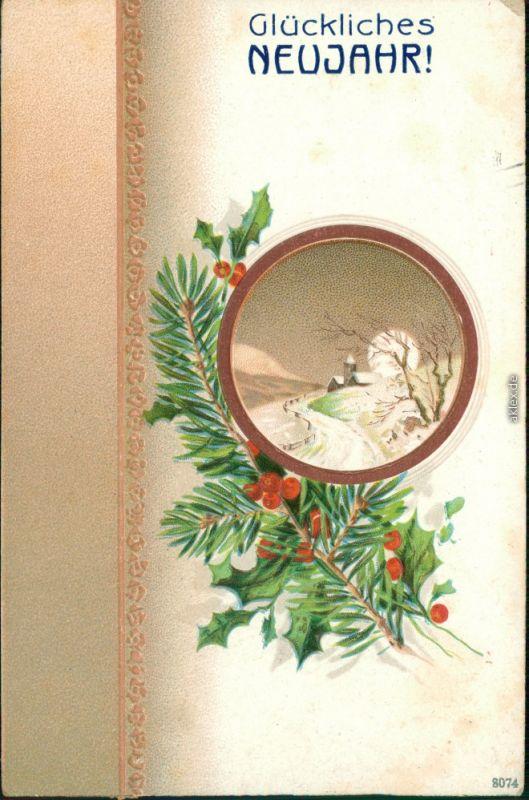 Neujahr/Sylvester - Kirche im Schnee mit Tannenzweig 1912 Prägekarte
