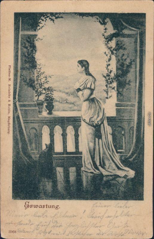 Ansichtskarte  Junge Frau - Blickt in die Ferne - Erwartung 1898