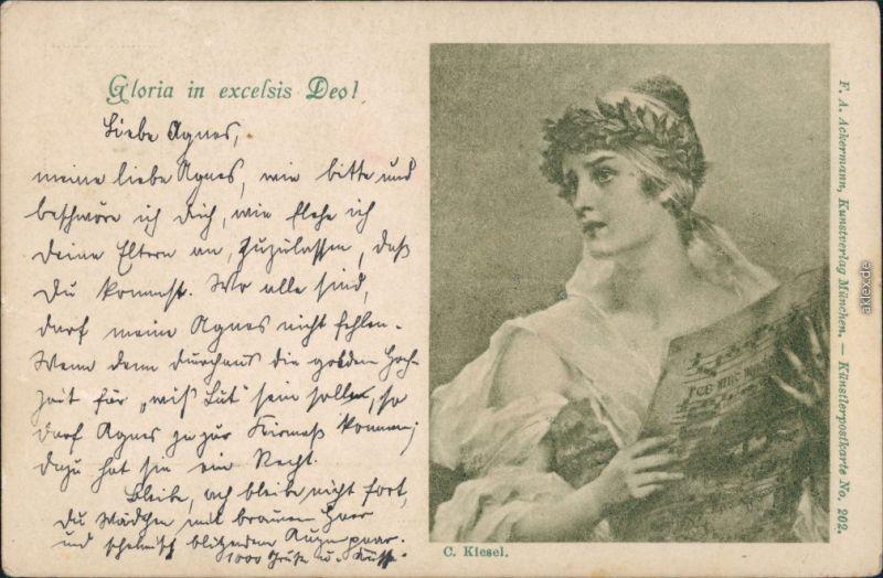 Ansichtskarte  Frau - Gloria in excelsis Deo 1898