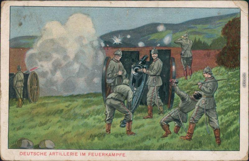 Ansichtskarte  Künstlerkarte Deutsche Artillerie im Feuerkampfe 1915
