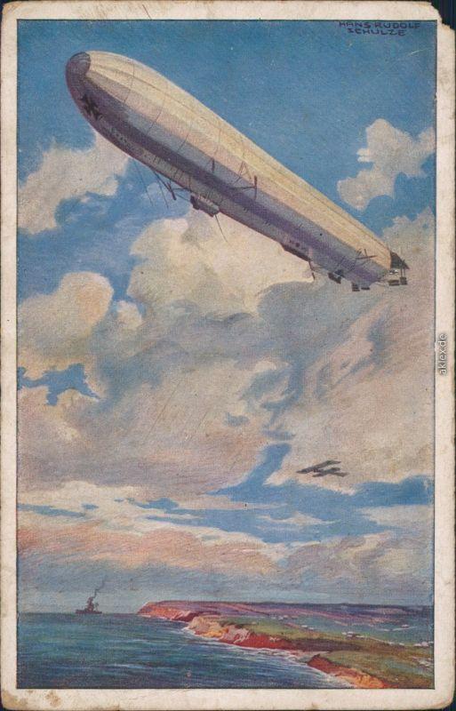 Ansichtskarte  Zeppelin - Künstlerkarte Luftflottenverein 1918