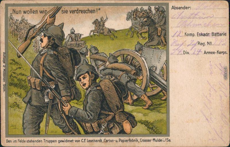 Ansichtskarte  Patriotika: Nun wollen wir sie verdreschen 1916